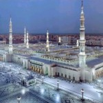 A beautiful aerial scene of Masjid Al Nabawi Sharif (Peace be upon him) in Madinah.