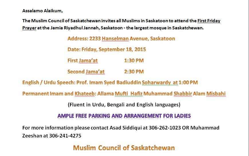 First Friday Prayer - Jamia Riyadhul Jannah Saskatoon-September-18-2015