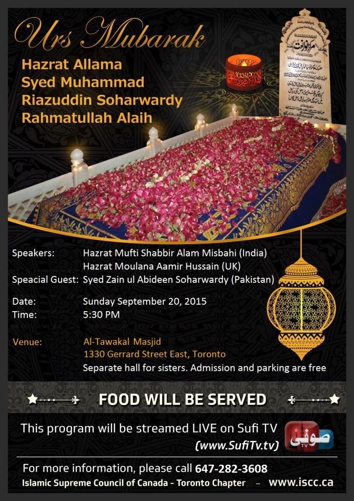 Urs-Allama-Peer-Syed-Riazuddin-Soharwardy-Al-Tawakal Masjid-Toronto-September 20