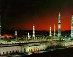The beautiful scene of Masjid Al Nabawi Al Sharif at night. Prophet Muhammad (peace be upon him and his companions built the mosque when they migrated from Makkah to Madinah