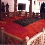 Qabr-e-Anwar Hazrat Khwaja Qutbuddin Bakhtiyar Kaki (May Allah shower His blessings upon him). He belonged to the direct lineage of the Holy Prophet Muhammad (Peace be upon him) descending from Hazrat Imam Hussain (May Allah be pleased with him)  When Hazrat Khwaja Mu'inuddin Chishti (Rahmatullah Alaih) went to Isfahan, 40 days before his death, he took oath of allegiance at his hands and received the Khilafat and Khirqah (Sufi cloak) from him.
