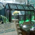Mazar of great Sufi Shaikh-e-Akbar Hazrat Muhyyuddin Ibn Arabi encased in glass in the lower level of a mosque at the bottom of Mount Qasyun in Damascus.  There are Mazarat of other Aulia Allah.