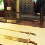 The four swords in Topkapy museum, Turkey. These swords belong to the four great caliphs of Islam; Hazrat Abu Bakr, Hazrat Umar, Hazrat Uthman and Hazrat Imam Ali (May Allah be pleased with all of them)