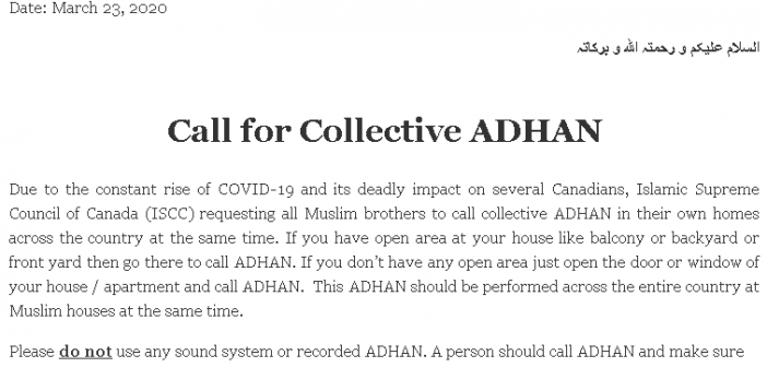 Call for Collective Adhan Across Canada