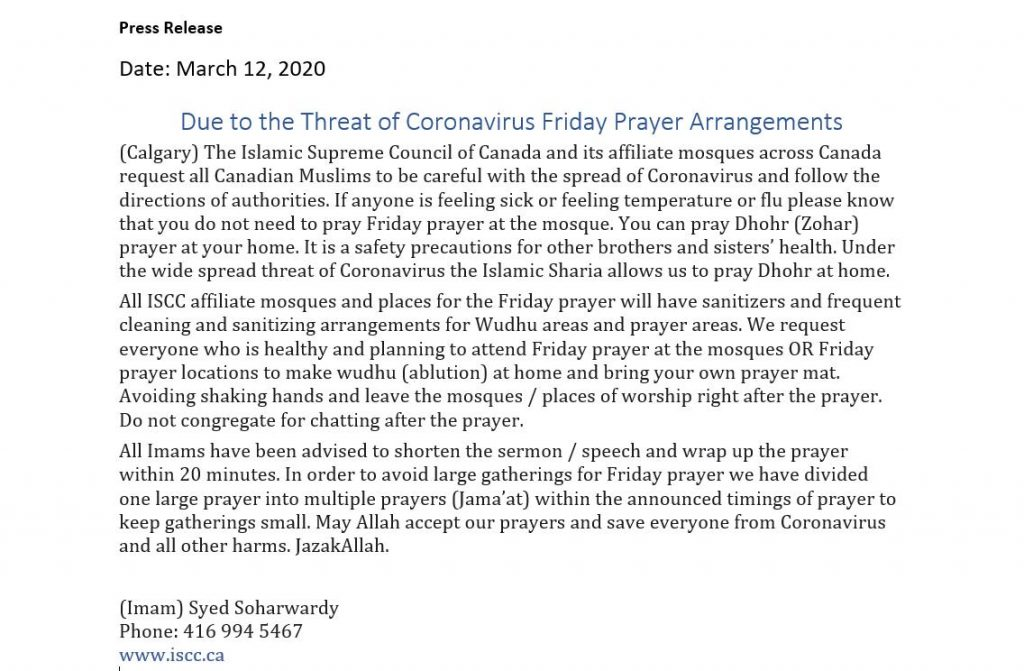 Coronavirus press release