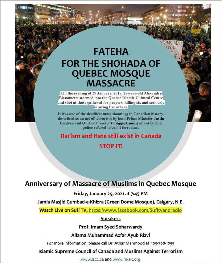 Fatiha for Shuhada of Quebec Mosque Massacre