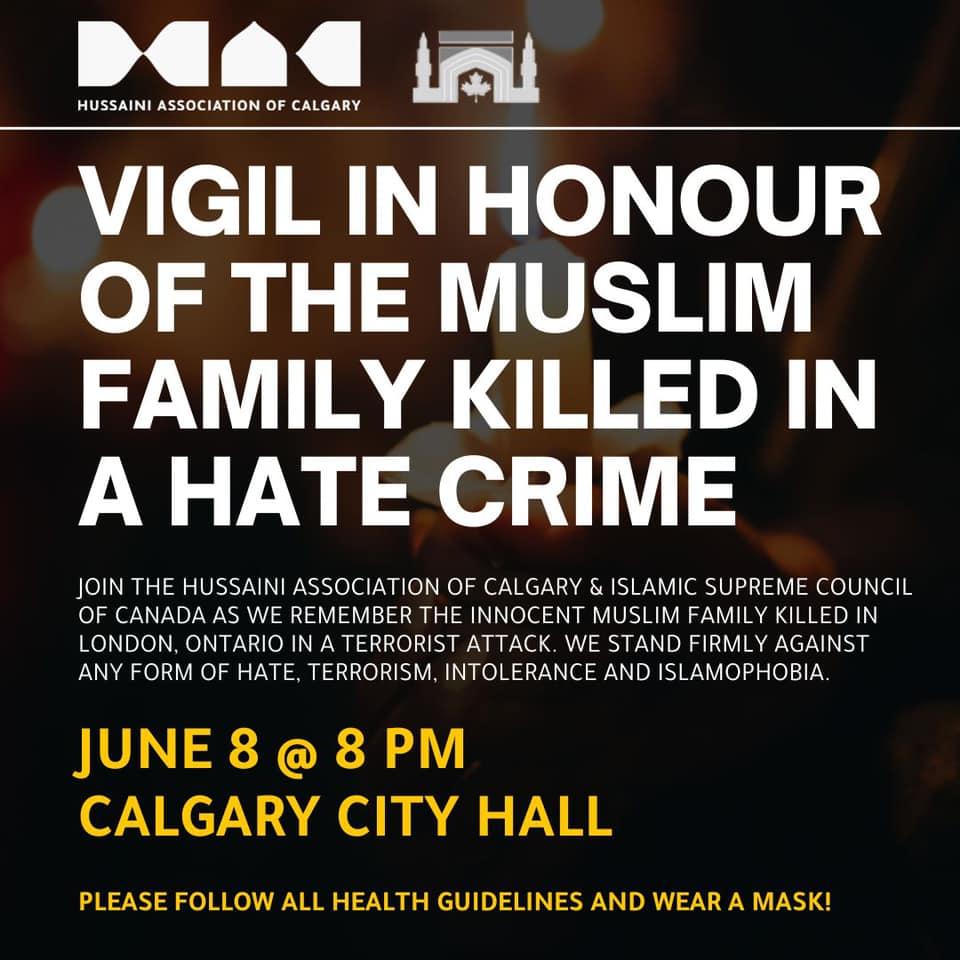 Vigil in Honour of Martyred London Muslim Family-June-8-Calgary-City-Hall